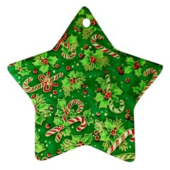 Green Holly Star Ornament (Two Sides)