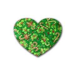 Green Holly Heart Coaster (4 pack)
