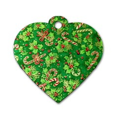 Green Holly Dog Tag Heart (One Side)