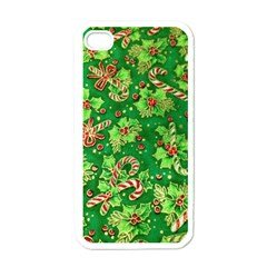 Green Holly Apple iPhone 4 Case (White)