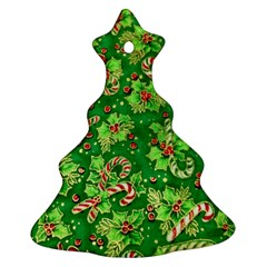 Green Holly Christmas Tree Ornament (two Sides)