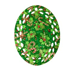 Green Holly Oval Filigree Ornament (Two Sides)