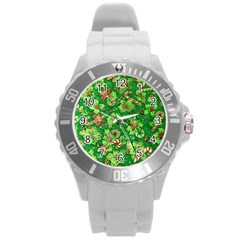 Green Holly Round Plastic Sport Watch (l)