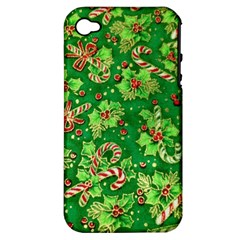 Green Holly Apple Iphone 4/4s Hardshell Case (pc+silicone)