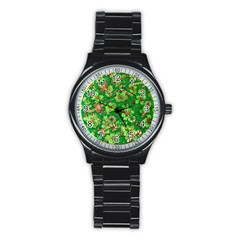 Green Holly Stainless Steel Round Watch