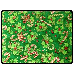 Green Holly Double Sided Fleece Blanket (Large)