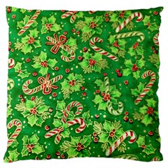 Green Holly Large Flano Cushion Case (one Side)