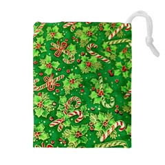 Green Holly Drawstring Pouches (Extra Large)