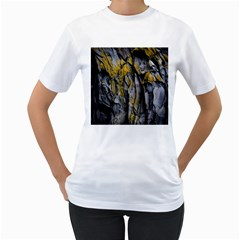 Grey Yellow Stone  Women s T-Shirt (White) (Two Sided)