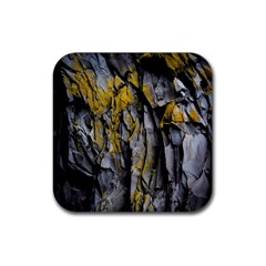 Grey Yellow Stone  Rubber Square Coaster (4 pack)