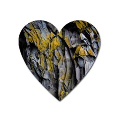 Grey Yellow Stone  Heart Magnet