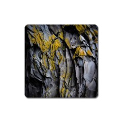 Grey Yellow Stone  Square Magnet