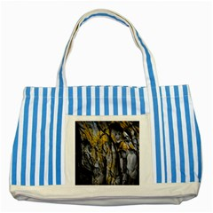 Grey Yellow Stone  Striped Blue Tote Bag