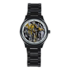 Grey Yellow Stone  Stainless Steel Round Watch