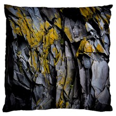 Grey Yellow Stone  Large Flano Cushion Case (two Sides)