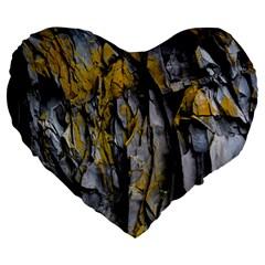 Grey Yellow Stone  Large 19  Premium Flano Heart Shape Cushions