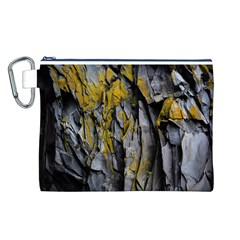 Grey Yellow Stone  Canvas Cosmetic Bag (L)
