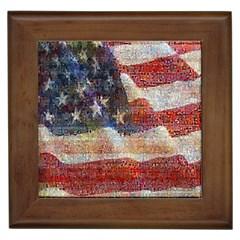 Grunge United State Of Art Flag Framed Tiles