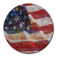 Grunge United State Of Art Flag Round Mousepads