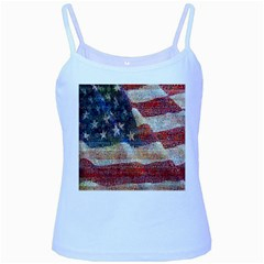 Grunge United State Of Art Flag Baby Blue Spaghetti Tank