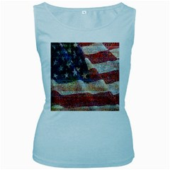 Grunge United State Of Art Flag Women s Baby Blue Tank Top