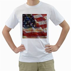 Grunge United State Of Art Flag Men s T-Shirt (White) (Two Sided)