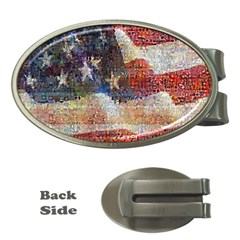 Grunge United State Of Art Flag Money Clips (Oval)
