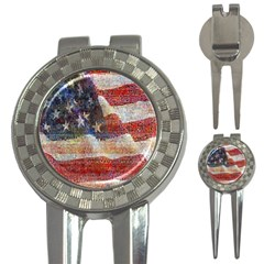 Grunge United State Of Art Flag 3 In 1 Golf Divots