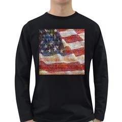 Grunge United State Of Art Flag Long Sleeve Dark T Shirts