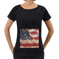 Grunge United State Of Art Flag Women s Loose-Fit T-Shirt (Black)