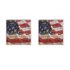 Grunge United State Of Art Flag Cufflinks (square)