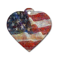 Grunge United State Of Art Flag Dog Tag Heart (Two Sides)