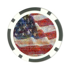 Grunge United State Of Art Flag Poker Chip Card Guard
