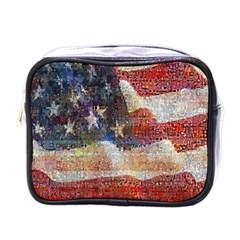 Grunge United State Of Art Flag Mini Toiletries Bags