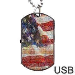 Grunge United State Of Art Flag Dog Tag USB Flash (One Side)