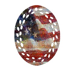 Grunge United State Of Art Flag Oval Filigree Ornament (two Sides)