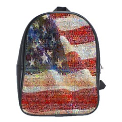Grunge United State Of Art Flag School Bags (XL)