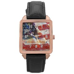 Grunge United State Of Art Flag Rose Gold Leather Watch