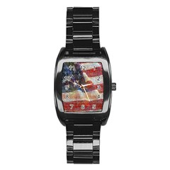 Grunge United State Of Art Flag Stainless Steel Barrel Watch