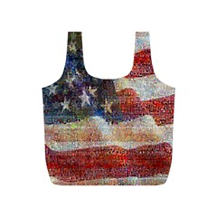 Grunge United State Of Art Flag Full Print Recycle Bags (s)