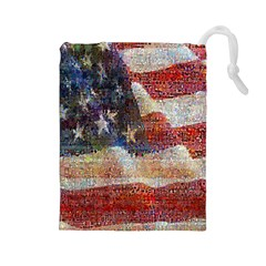 Grunge United State Of Art Flag Drawstring Pouches (large)