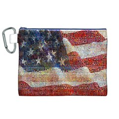 Grunge United State Of Art Flag Canvas Cosmetic Bag (xl)
