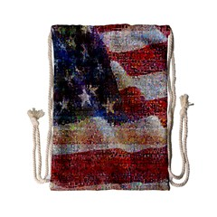 Grunge United State Of Art Flag Drawstring Bag (small)
