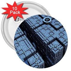 Grid Maths Geometry Design Pattern 3  Buttons (10 pack)