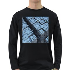 Grid Maths Geometry Design Pattern Long Sleeve Dark T-Shirts