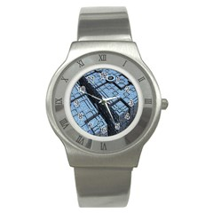 Grid Maths Geometry Design Pattern Stainless Steel Watch