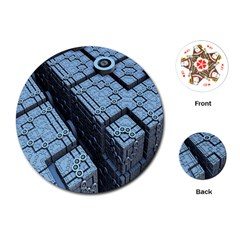 Grid Maths Geometry Design Pattern Playing Cards (round)