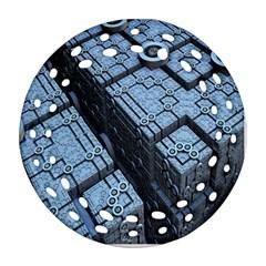 Grid Maths Geometry Design Pattern Ornament (Round Filigree)