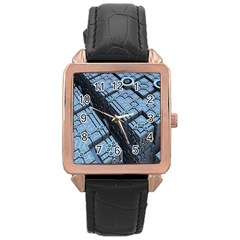 Grid Maths Geometry Design Pattern Rose Gold Leather Watch