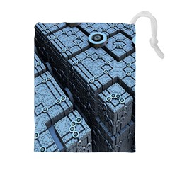Grid Maths Geometry Design Pattern Drawstring Pouches (Extra Large)